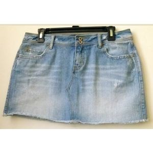 Aeropostale Denim Jean Mini Skirt Size 9/10 Frayed